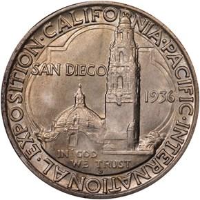 1936 D SAN DIEGO 50C MS reverse