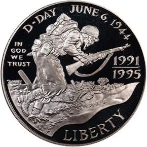 1991-1995 W W.W.II S$1 PF obverse