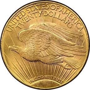 1910 D $20 MS reverse