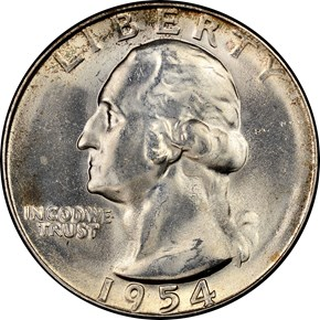 1954 S 25C MS obverse