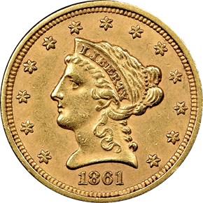 1861 TYPE 1 $2.5 MS obverse
