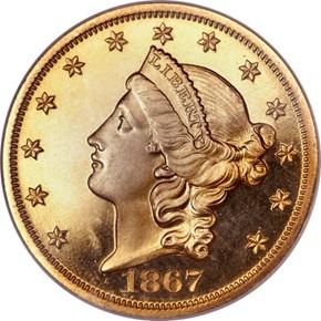 1867 $20 PF obverse