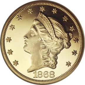 1868 $20 PF obverse