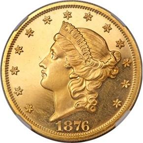 1876 $20 PF obverse