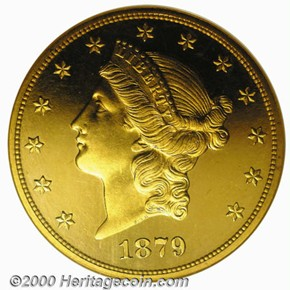 1879 $20 PF obverse