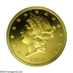 1898 $20 PF obverse