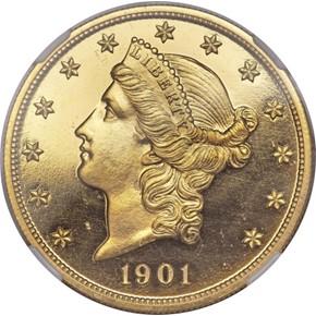 1901 $20 PF obverse