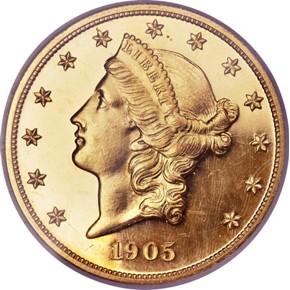 1905 $20 PF obverse