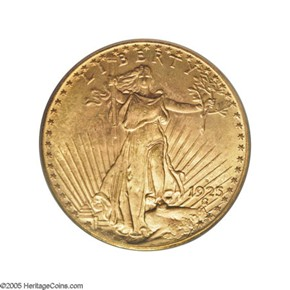1925 D $20 MS obverse