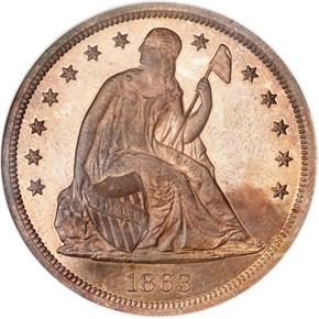 1863 J-346 S$1 PF obverse