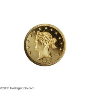 1875 J-1438 $5 PF obverse