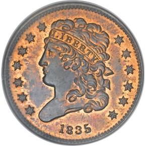 1835 1/2C PF obverse