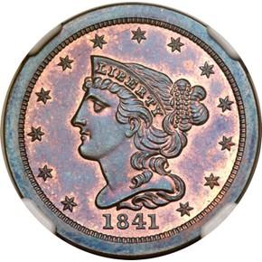 1841 ORIGINAL 1/2C PF obverse