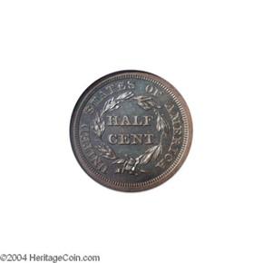 1849 SM DATE ORIGINAL 1/2C PF reverse