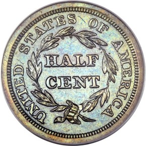 1849 SM DATE RESTRIKE 1/2C PF reverse