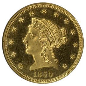 1859 $2.5 PF obverse