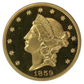 1859 $20 PF obverse
