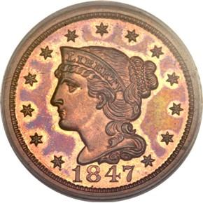 1847 1C PF obverse