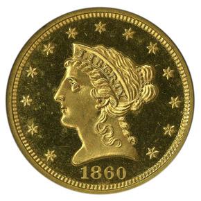 1860 $2.5 PF obverse