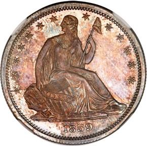 1839 NO DRAPERY 50C PF obverse
