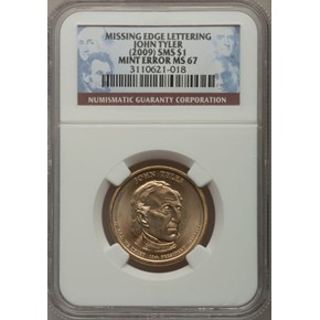 (2009) SMS TYLER MISSING EDGE LETTERING $1 MS obverse