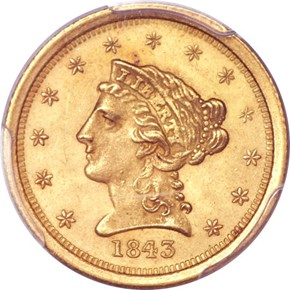 1843 O $2.5 MS obverse