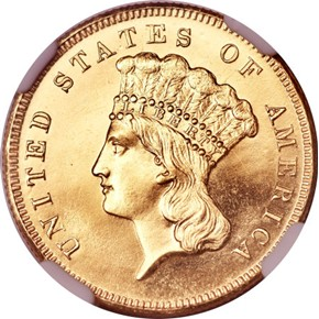 1860 $3 PF obverse