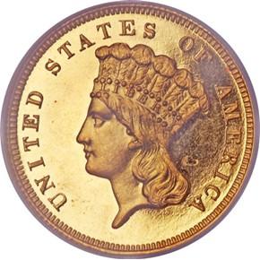 1864 $3 PF obverse