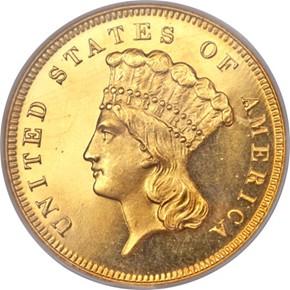 1879 $3 PF obverse