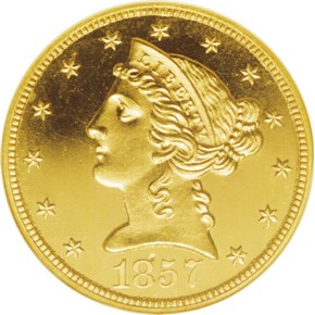 1857 $5 PF obverse