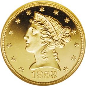 1858 $5 PF obverse