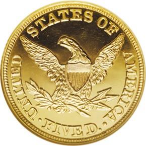 1858 $5 PF reverse
