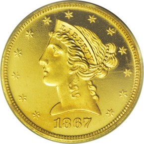 1867 $5 PF obverse