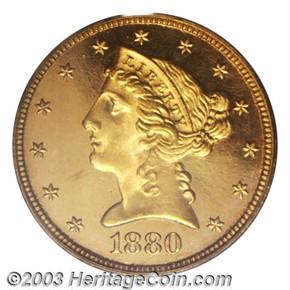 1880 $5 PF obverse