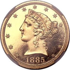 1885 $5 PF obverse
