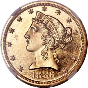 1886 $5 PF obverse
