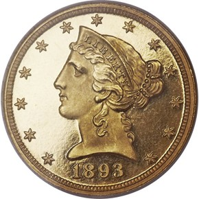 1893 $5 PF obverse