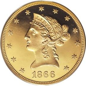 1866 MOTTO $10 PF obverse