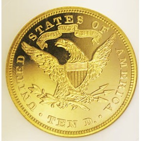 1874 $10 PF reverse