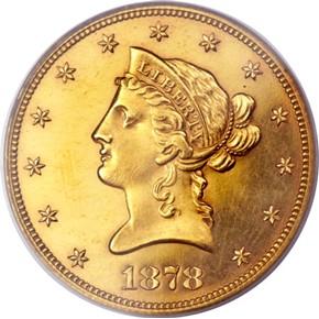 1878 $10 PF obverse