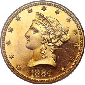 1884 $10 PF obverse