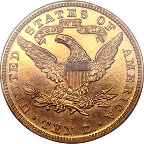 1885 $10 PF reverse