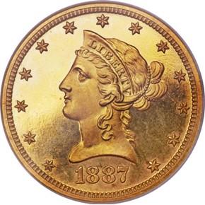 1887 $10 PF obverse
