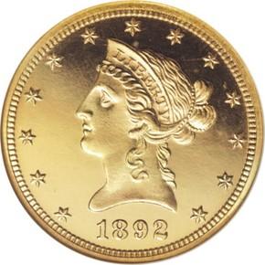 1892 $10 PF obverse