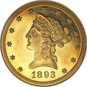 1893 $10 PF obverse