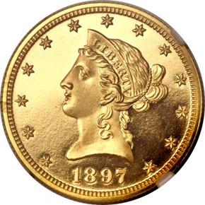 1897 $10 PF obverse