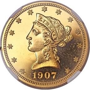 1907 LIBERTY $10 PF obverse