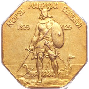 1925 NORSE AMERICAN GOLD MEDAL PF obverse