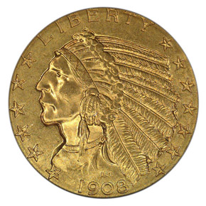 1908 INDIAN $5 MS obverse