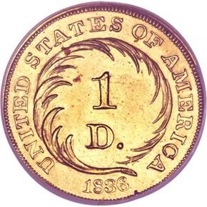 1836 J-70 GILT G$1 PF reverse
